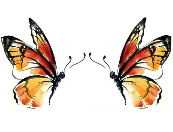 temporary tattoo set of 2 monarch butterflies or 3 x by inkdecal. Black Bedroom Furniture Sets. Home Design Ideas