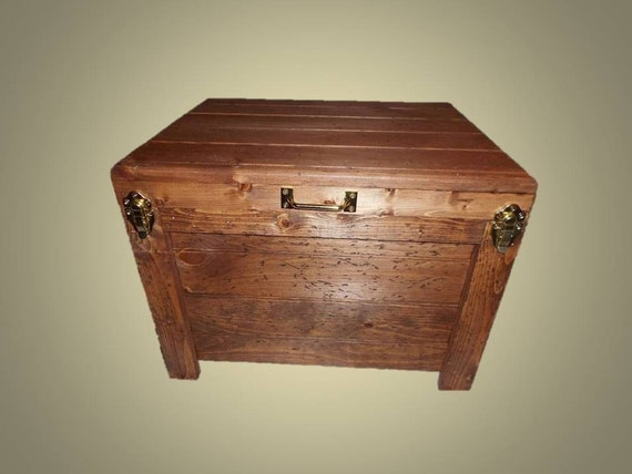Rustic storage box end table hidden compartment by for Hidden storage side table