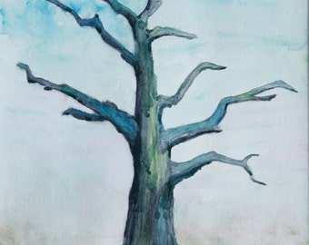 Bare Tree Minimal Watercolor Painting