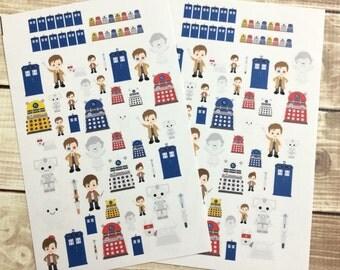 The Tardis Stickers! 1 sheet, for your Erin Condren Life Planner, Plum Planner,  Filoflax, calendar or scrapbook!