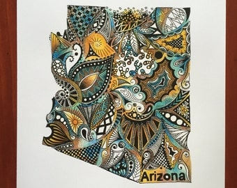Arizona Colored Outline Ink and Pencil Art