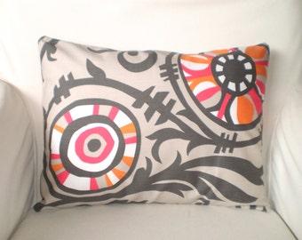 Orange Gray Decorative Throw Pillow Covers, Cushions, Orange Grey Raspberry White Sherbert Couch Pillows, Throw Pillow One 12 x 16