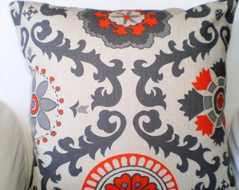 Orange Gray Pillow Covers, Decorative Throw Pillows, Cushions, Orange Grey on Darker Natural, Euro Sham, Couch Bed, One or More All Sizes