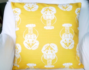 Yellow Pillow Covers Decorative Throw Pillows Cushion Covers Corn Yellow White Lobster Pillow, Nautical Pillow, Beach, One or More All Sizes
