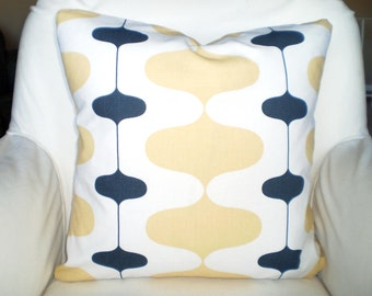 Yellow Gray Pillow Covers, Decorative Throw Pillow Cushion Cover Saffron Yellow Charcoal Grey Couch Bed Pillow, Retro, One or More All Sizes