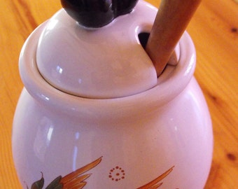 Vintage Large French Olive Pot Moustier with spoon