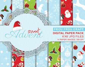 Cute Christmas Digital Paper Pack Instant Download Santa Christmas Printable Red Green Blue Snowman Snowfake Santa Gift Wrap 6x6 inches