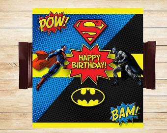 Batman Superman Candy Wrapper // Batman Superman Chocolate Bar Wrapper // Superhero Favors