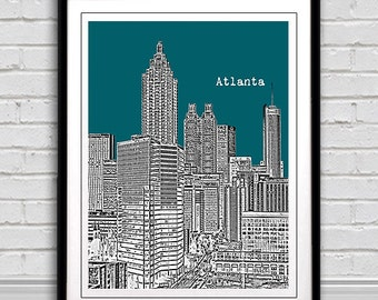 Atlanta  Skyline Art Print City Poster  - great decor for home or office. *Plus buy any 3 city prints & get 1 FREE!