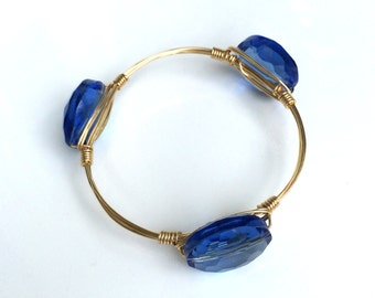 Blue Jewel Wire Wrapped Bangle