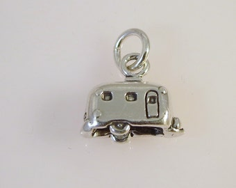 Sterling Silver 3-D Vintage Style TRAVEL TRAILER Charm Pendant Airstream Canned Ham  .925 Sterling Silver New vh08