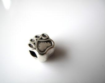 1 Silver Toned Paw Large Big Hole European Charm - fits european style bracelet