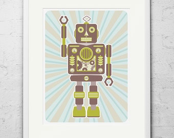Robot Print / Robot Poster / Retro Robot / Large Art Print /Robot Stanley