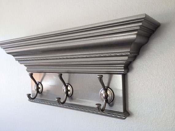 Decorative Wall Shelf With Hooks Mantle Rack : Items similar to quot crown molding wall shelf with hooks