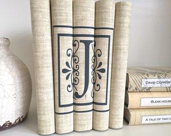 Personalized Initial Books - Initial Decorative Books - Letter J Books - Neutral Books - Housewarming Gift - Custom Books