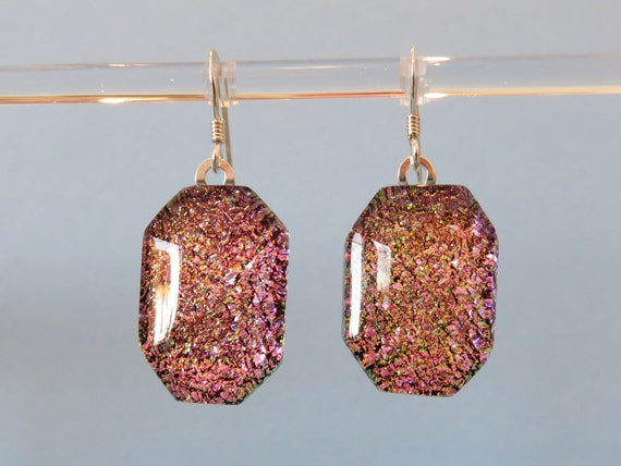 Pink and gold fused dichroic glass geometric dangle earrings on sterling silver ear wires