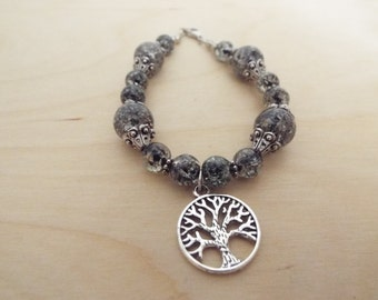 Tree of Life Bracelet, Handmade Black and Clear Glass Beaded Bracelet with Silver Tree of Life Charm