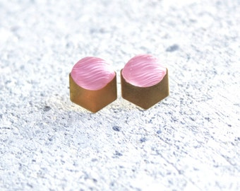 Ice Cream Pink Hexagon Modern Geometric Earrings with Vintage Glass and Brass Metal