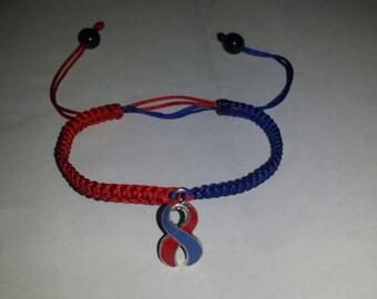Red & Blue Ribbon Adjustable Bracelet