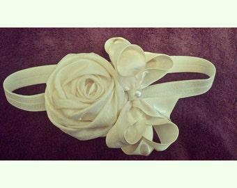 Cream Fabric Rose Flower Headband with Pearl Center