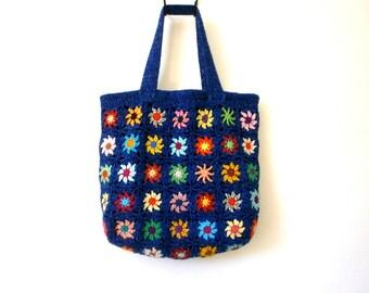 Bag tote bag crochet granny multicolor and blue mottled