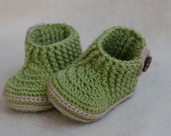 CROCHET PATTERN for Baby green booties with stretch top - Cheap Crochet Boot Pattern, Booties Pattern, Baby Boy Boots, PDF pattern, olive
