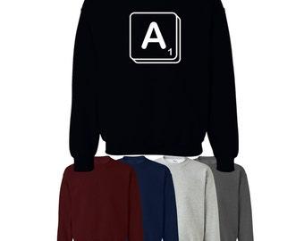 Scrabble Choose Your Own Letter Jumper Sweater Custom Print Womens Mens Ships Worldwide S-XXL