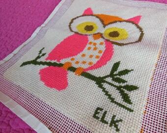 70s Era Pink Owl Needlepoint