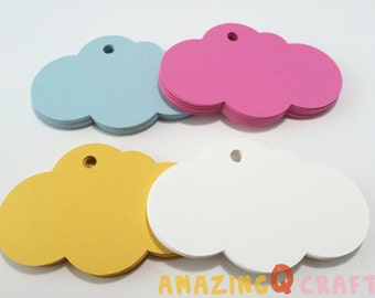 Cloud Paper Tags - Pink / Yellow / Blue / White Colors - Cardstock Paper Tags - Hang Tags - Set of 50