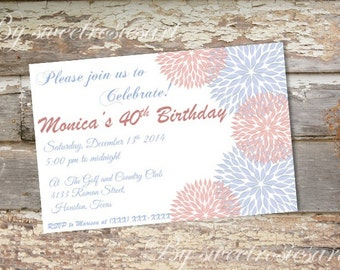 Birthday Invitation for woman/ flowers