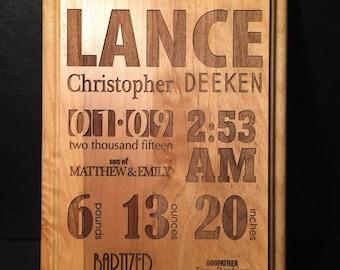 Personalized Baptism Plaque Laser Engraved