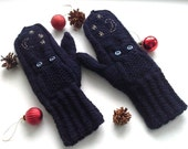 CUSTOM Navy blue wooly lurex embroidered owls knit mittens, winter accessory, warm gift