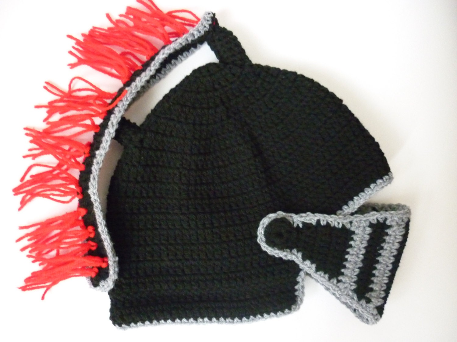 PATTERN Knight Helmet Hat Crochet Beanie Hat Handmade by ...