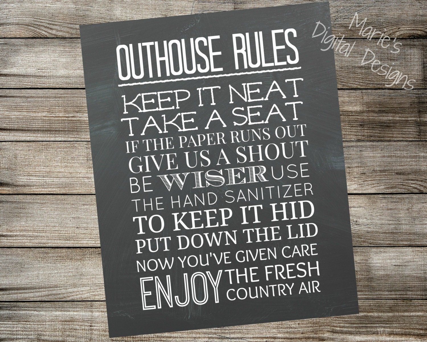 Outhouse Rules Printable Chalkboard Sign Bathroom Home Decor