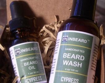 Beard Oil + Beard Wash Set - Cypress - Beard Kit - Gift For Men - Beard Grooming Gift