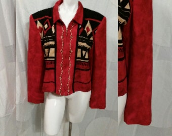 32--Vintage jacket- Size 14- Rayon- Nancy Bolen- Zipper- Bold print- Shoulderpads-Office suit
