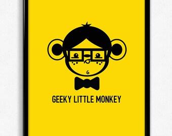 Geeky Little Monkey Art Print