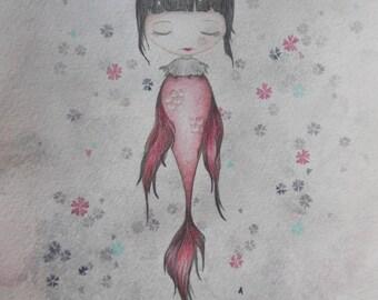 Japanese Mermaid - Original watercolor drawing