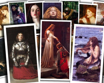"80 1x2"" DOMINOS Pre-Raphaelite paintings (medieval, romanticism, knights, queens...) digital for scrapbooking printable instant download"