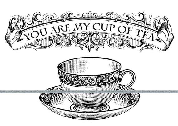 Tea Rose Clipart Black And White: Victorian Tea Cup Clipart Graphics Vintage Teacup Antique