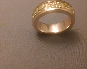 Gold Nugget Sluice Box Ring-Men's