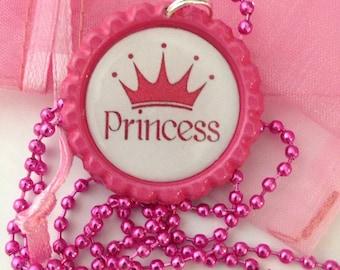 Princess necklace-bottle cap necklace- princess jewelry - bottle cap jewelry-handmade jewelry