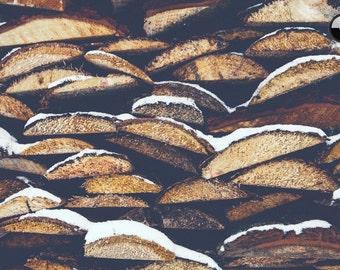 Logs print, Wood Print, Outdoor mood, lumberjack, winter scene, wood, forest, hipster