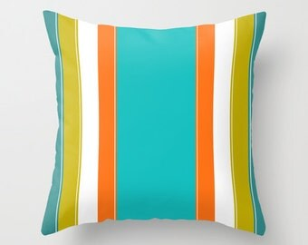 Turquoise Pillow, Green Teal and Orange Pillow, Striped Pillow Covers, Colorful Pillows, Decorative Throw Pillow, Living Room Decor