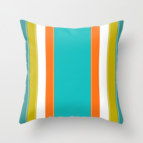 turquoise pillow green teal and orange pillow striped pillow. Black Bedroom Furniture Sets. Home Design Ideas