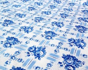 German vintage antique fabric 50x90cm: blue sea B9
