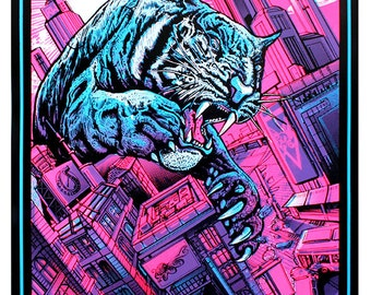 Tiger Strike - Rhys Wootton - Screen-printed art print