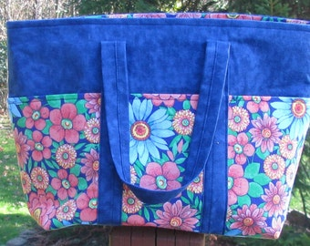 Everyday bag.  Blue flowered purse.  Flower fabric is made in USA.