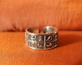 Antique Egyptian Silver Ring Band Adjustable of Ancient Hieroglyphics_STAMPED