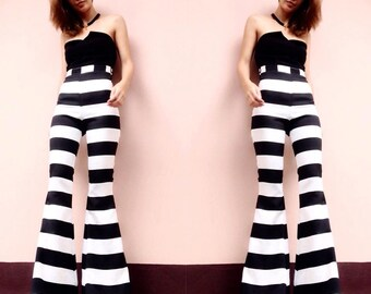 Women's black and white stripes high waisted flared bell bottom pants - vintage 70s fashion